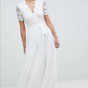 White Elegant Floor Length Dress